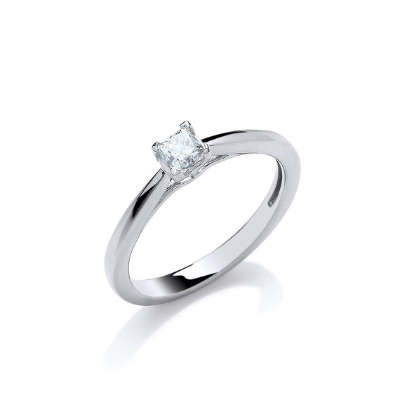18ct White Gold 0.25ct Princess Cut Diamond Ring