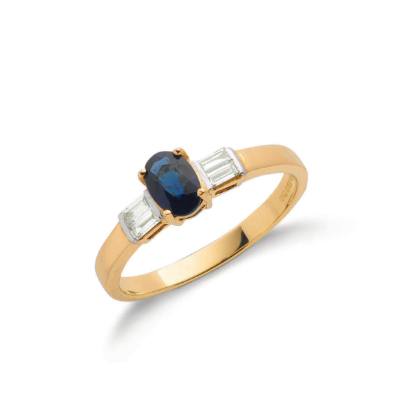 9ct Yellow Gold Baguette Cut 0.11ct Diamond & 0.60ct Sapphire Ring