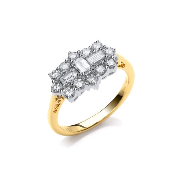 18ct Yellow Gold 1.00ct Diamond Boat Cluster Ring