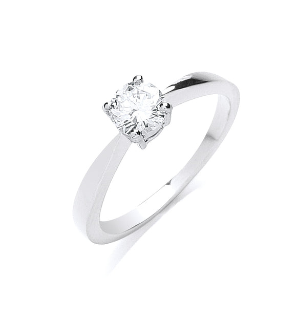 Platinum 0.50ct G/H-Si Diamond Ring