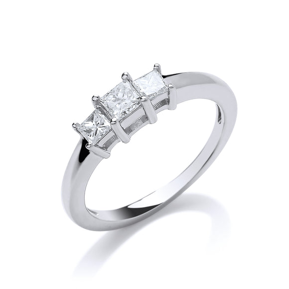 18ct White Gold 0.50ct Princess Cut Diamond Trilogy Ring