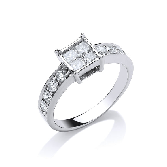 18ct White Gold 0.75ct 4 Stone Centre Princess Cut Diamond Ring
