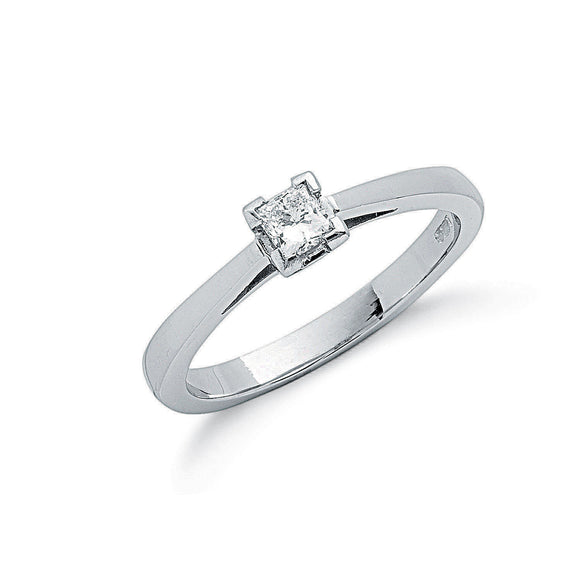 Platinum 0.25ct G/H-Si Princess Cut Diamond Ring