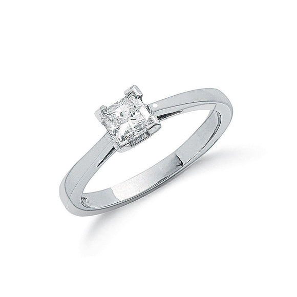 Platinum 0.50ct G/H-Si Princess Cut Diamond Ring