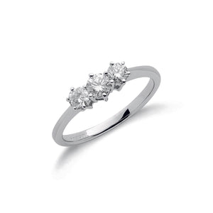 18ct White Gold 0.50ct Diamond Trilogy Ring