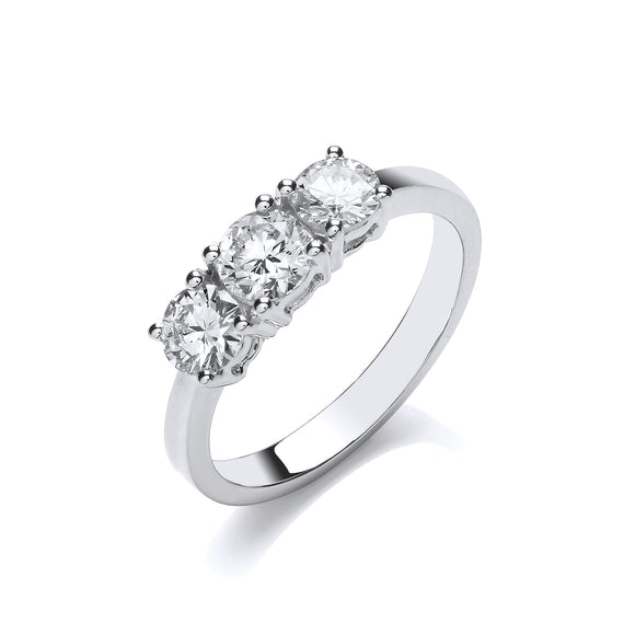 18ct White Gold 1.00ct Diamond Trilogy Ring