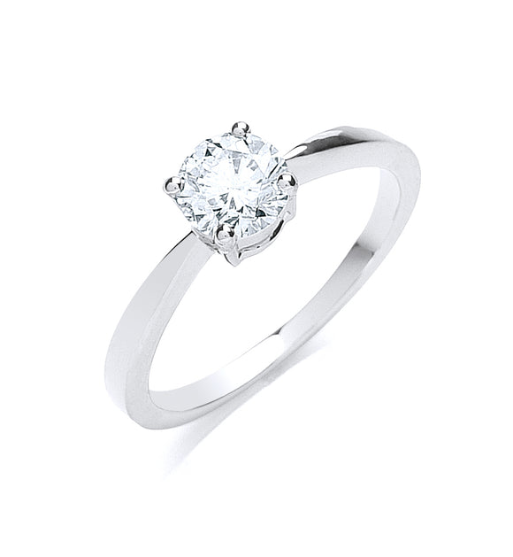 Platinum 0.70ct G/H-Si Diamond Ring