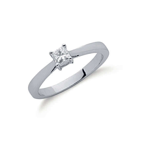 9ct White Gold 0.25ct Princess Cut Diamond Ring