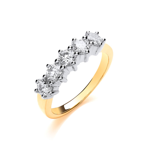 18ct Yellow Gold 1.00ct 5 Stone Diamond Eternity Ring