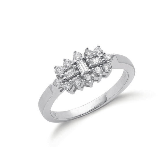 18ct White Gold 0.50ct Diamond Boat Cluster Ring