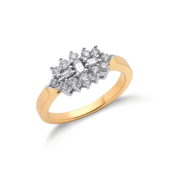 18ct Yellow Gold 0.50ct Diamond Boat Cluster Ring