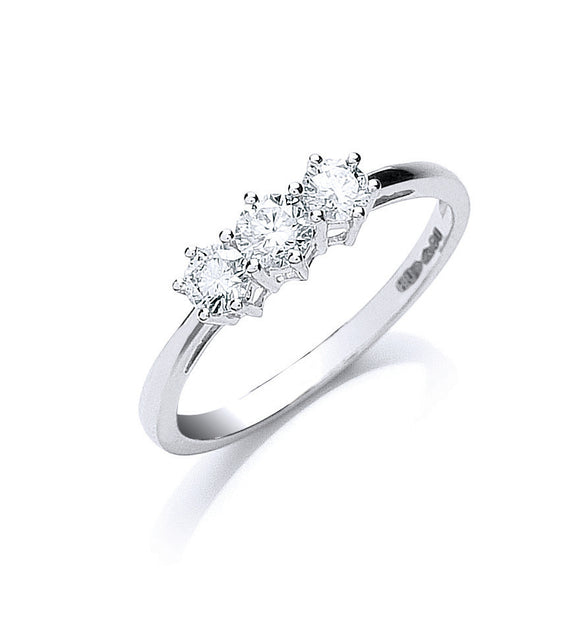 Platinum 0.50ct G/H-Vs Brilliant Cut Diamond Trilogy Ring