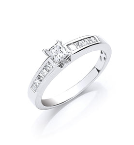 18ct White Gold 0.50ct Princess Cut Diamond Ring
