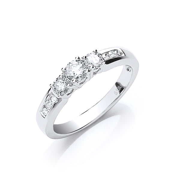 18ct White Gold 0.50ct Trilogy Ring with Diamond Shoulders