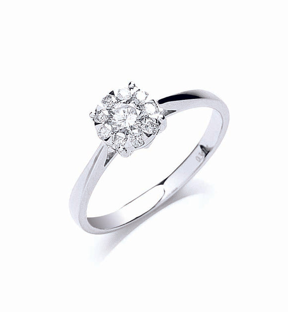 18ct White Gold 0.33ct Illusion Set Diamond Ring
