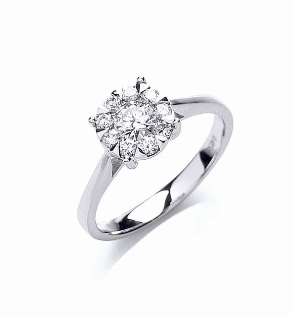 18ct White Gold 0.50ct Illusion Set Diamond Ring