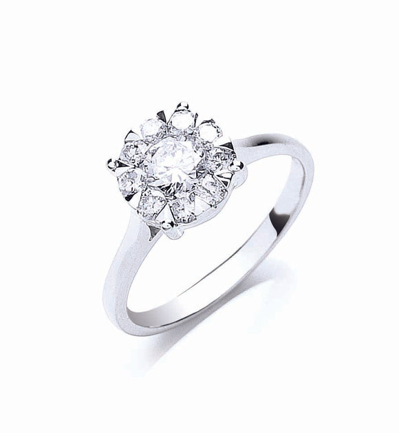 18ct White Gold 0.75ct Illusion Set Diamond Ring