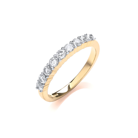 18ct Yellow Gold 0.50ct Diamond Half Eternity Ring