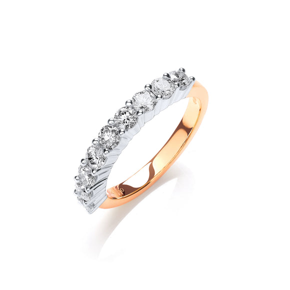 18ct Yellow Gold 1.00ct Diamond Half Eternity Ring
