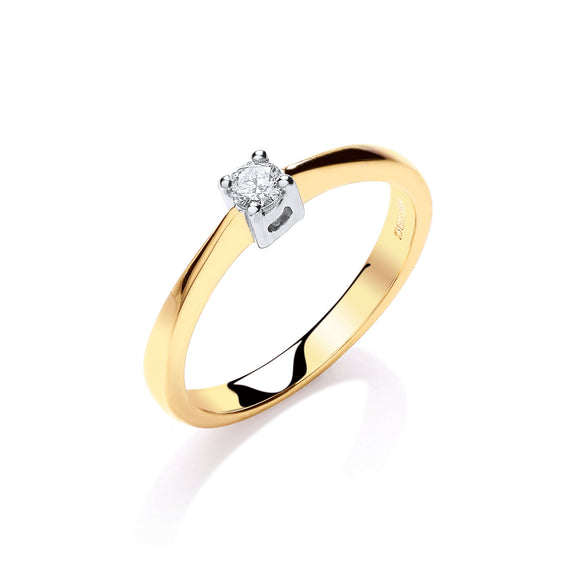 9ct Yellow Gold 0.10ct Solitaire Ring