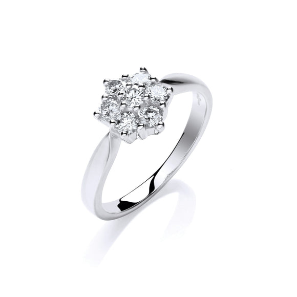 9ct White Gold 0.50ct Diamond Flower Cluster Ring