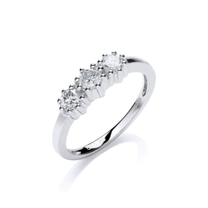 9ct White Gold 0.50ct Diamond Trilogy Ring