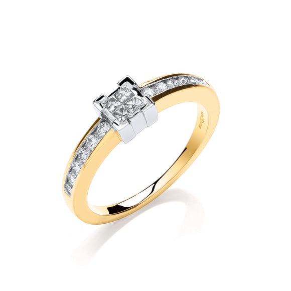 9ct Yellow Gold 0.33ct Princess Cut Centre Diamond Ring