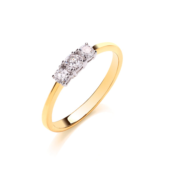 18ct Yellow Gold 0.33ct Diamond Trilogy Ring