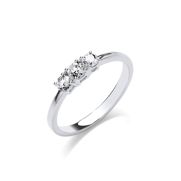18ct White Gold 0.33ct Diamond Trilogy Ring