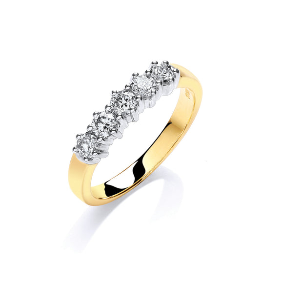 18ct Yellow Gold 0.50ct 5 Stone Diamond Eternity Ring
