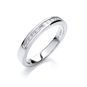 18ct White Gold 0.25ct Princess Cut G/H-Si Diamond Half Eternity Ring