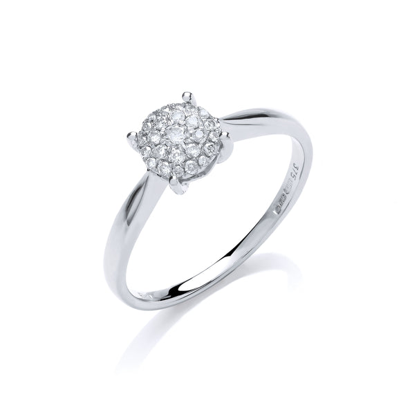 9ct White Gold 0.15ct Diamond Pave Solitaire Ring