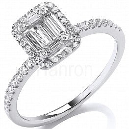 18ct White Gold 0.50ct Baguette & Brilliant Cut Diamond Halo Ring
