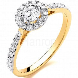 18ct Yellow Gold Halo Style 0.50ct Diamond Ring
