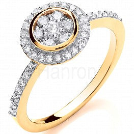 18ct Yellow Gold 0.45ct Round Top With Diamond Shoulders Ring