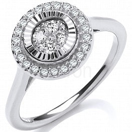 9ct White Gold 0.25ct Diamond Cluster Ring
