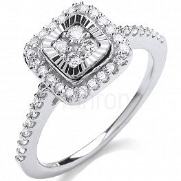 9ct White Gold 0.40ct Diamond Cluster Ring