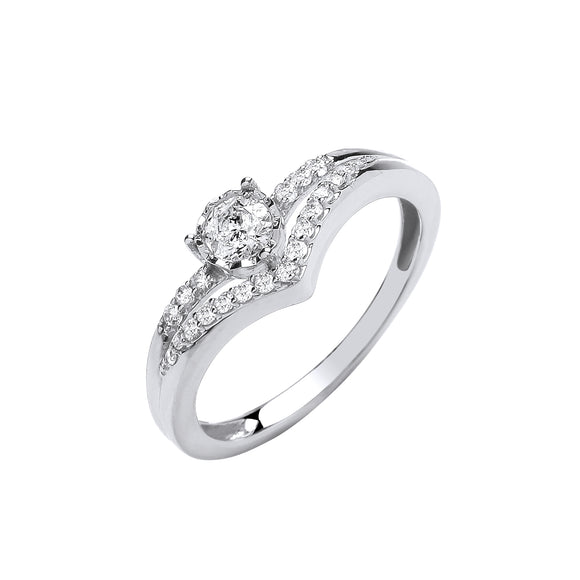9ct White Gold 0.33ct Split Shank Ring