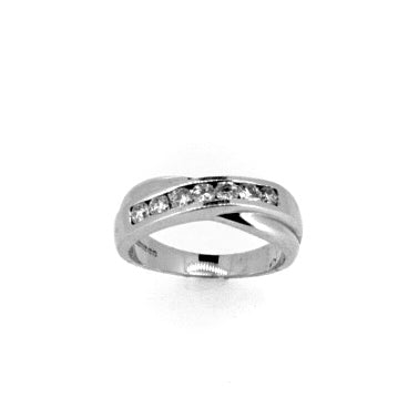 18ct White Gold 0.42ct Diamond Eternity Cross-over Ring