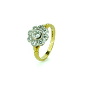 18ct Yellow Gold 0.65ct Diamond Flower Cluster