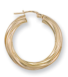 9ct Yellow Gold Twisted Hoop Earrings (2g)