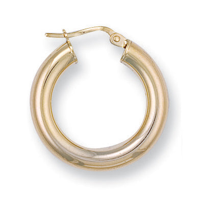 9ct Yellow Gold Round Tube Hoop Earrings (2g)