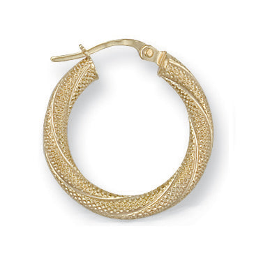 9ct Yellow Gold Frosted Twisted Hoop Earrings (1.1g)