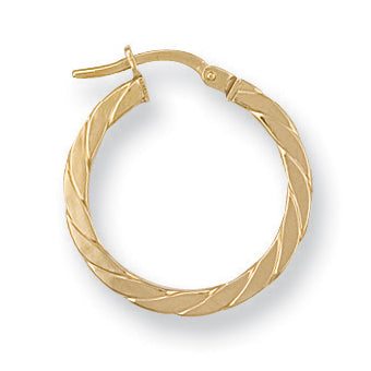 9ct Yellow Gold Twisted Hoop Earrings (1.2g)