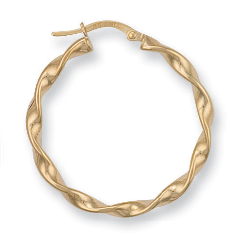 9ct Yellow Gold Twisted Hoop Earrings (1.4g)