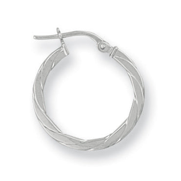 9ct White Gold Twisted Hoop Earrings (1.2g)