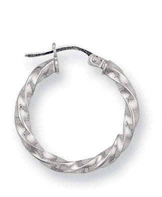 9ct White Gold Twisted Hoop Earrings (1.1g)