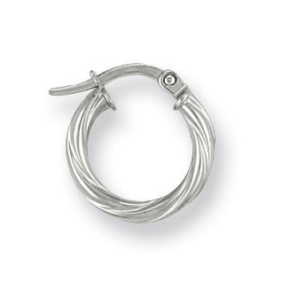 9ct White Gold Twisted Hoop Earrings (0.8g)