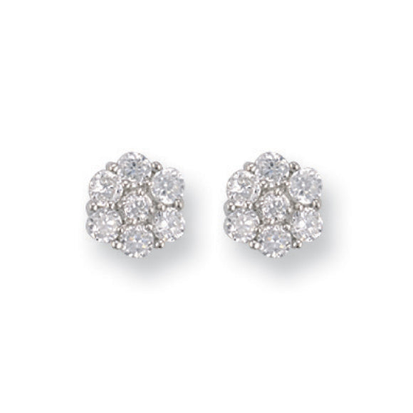 9ct White Gold CZ Cluster Stud Earrings (1.9g)