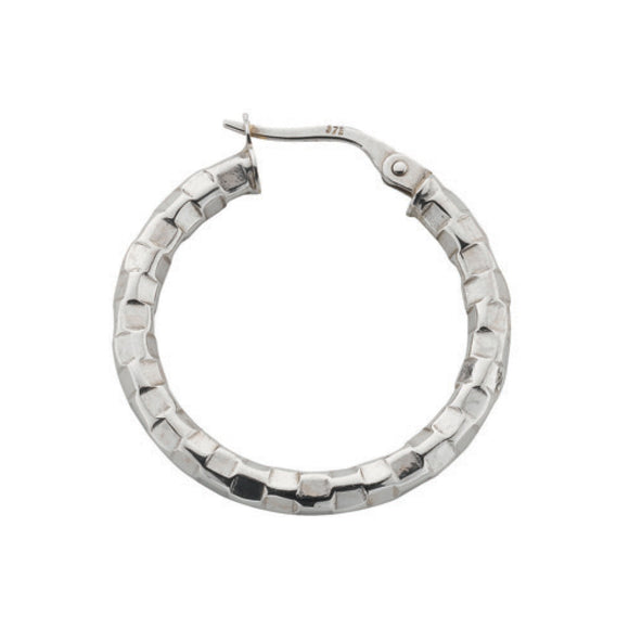9ct White Gold Fancy Hoop Earrings (1.6g)
